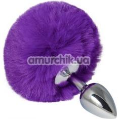 Анальная пробка с фиолетовым хвостиком sLash Honey Bunny Tail S, серебряная - Фото №1
