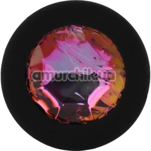 Анальная пробка с радужным кристаллом SWAROVSKI Zcz, черная