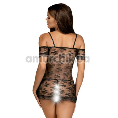 Комплект Obsessive Jennifairy, черный: пеньюар + трусики-стринги