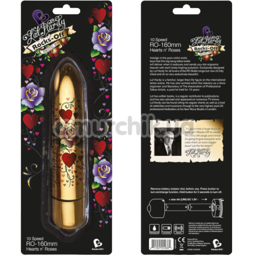 Клиторальный вибратор Rocks-Off Lal Hardy RO-160 mm 10-Speed Heart's'n'Roses, золотой