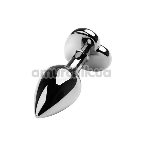 Анальная пробка с красным кристаллом Toyfa Metal Heart 717013-5, серебряная