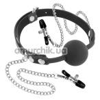 Кляп с зажимами для сосков Fetish Tentation Silicone Gag Ball with Nipple Clamps, черный - Фото №1