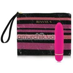 Вибратор Rianne S Classique Vibe Stud с розово-полосатой сумкой, розовый - Фото №1