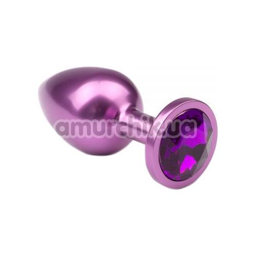Анальная пробка с фиолетовым кристаллом Purple Metal Luxe L - Фото №1
