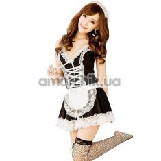 Костюм горничной GL Brand: платье + трусики-стринги + манжеты + обруч - Фото №1