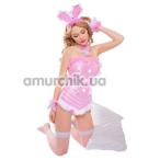 Костюм зайчика JSY Sexy Lingerie розовый: боди + чулки + чокер + манжеты + ушки - Фото №1