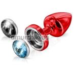 Анальная пробка с черным и голубым кристаллом SWAROVSKI Anni Magnet T1, красная - Фото №1