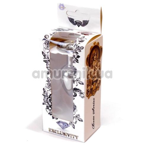 Анальная пробка с прозрачным кристаллом Exclusivity Jewellery Silver Plug, серебряная
