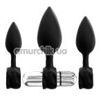 Набор из 3 анальных пробок с вибрацией Bathmate Anal Training Plugs Vibe, черный - Фото №1