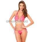 Комплект 2PC Lace Tie-Up Bra & Thong Set Pink: бюстгальтер + трусики-стринги (модель 75301188) - Фото №1