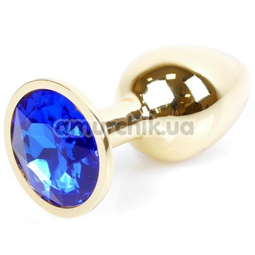 Анальная пробка с синим кристаллом Exclusivity Jewellery Gold Plug, золотая - Фото №1