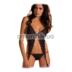 Комплект 2PC Lace Garter Set Black (модель RR75321180B): боди + трусики-стринги - Фото №1