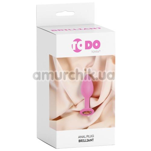 Анальная пробка с прозрачным кристаллом ToDo Anal Plug Brilliant XS, розовая