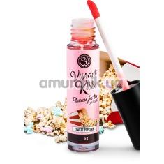 Блеск для губ с эффектом вибрации Secret Play Vibrant Kiss Pleasure For Two Lip Gloss Sweet Popcorn - попкорн, 6 мл - Фото №1