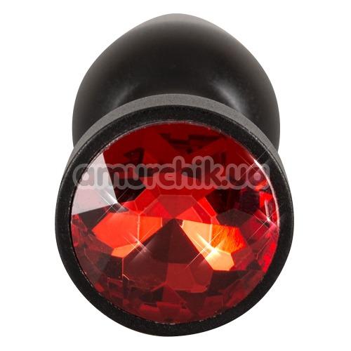 Анальная пробка с красным кристаллом Butt Jewellery Aluminium, черная