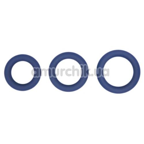 Набор эрекционных колец Hombre Snug Fit Silicone Thick C-Rings, синий - Фото №1