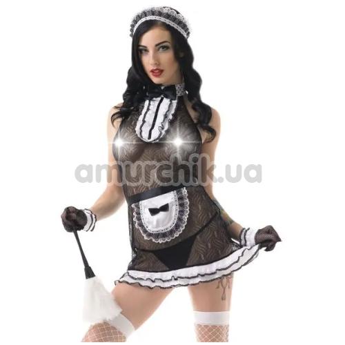 Костюм горничной LeFrivole Easy To Love (02907) черный: платье + фартук + фартук + чулки + головной убор