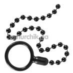 Эрекционное кольцо с анальной цепочкой Bad Kitty Naughty Toys Cock Ring And String Beads, черное - Фото №1