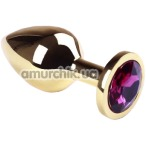Анальная пробка с розовым кристаллом SWAROVSKI Gold Amethyst Middle, золотая - Фото №1