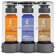 Набор для массажа Fruity Love Massage с согревающим эффектом - абрикос/апельсин, ваниль/кассис, корица/черника, 3 x 50 мл - Фото №1