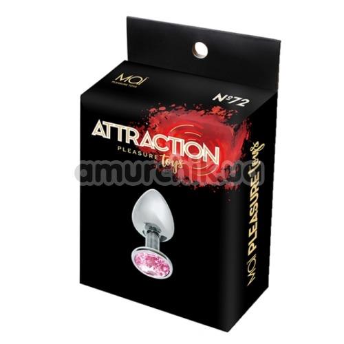 Анальная пробка с розовым кристаллом Mai Attraction Pleasure Toys S №72, серебряная
