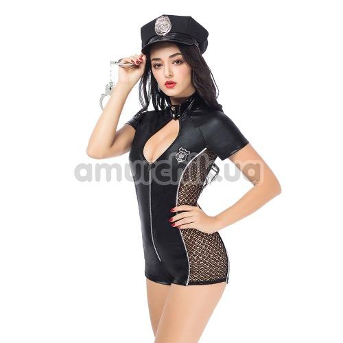 Костюм полицейской JSY Sexy Lingerie SO3694 черный: боди + фуражка + наручники