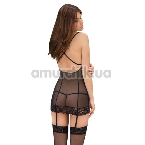 Комплект Kate черный: комбинация + трусики-стринги