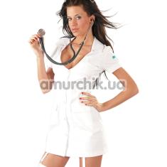 Костюм медсестры Cottelli Collection Costumes 2470349 белый: халатик + трусики-стринги - Фото №1