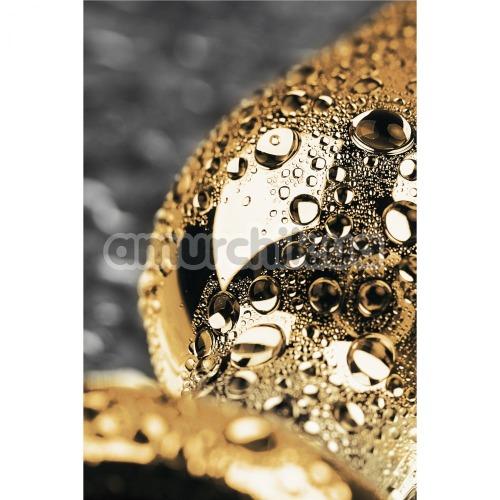 Анальная пробка с черным кристаллом Toyfa Metal, золотая