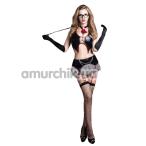 Костюм учительницы Teacher 9721 чёрно-белый: мини-юбка + топ + чулки + трусики-стринги + галстук + перчатки + очки + указка - Фото №1