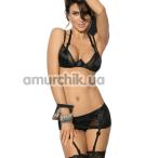 Комплект ANS Esathe чёрный: бюстгальтер + трусики + подвязки для чулок - Фото №1
