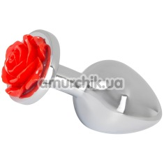 Анальная пробка Rose Butt Plug, серебряная - Фото №1
