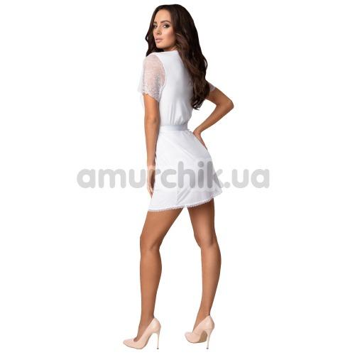Комплект Obsessive Miamor белый: халат + трусики-стринги