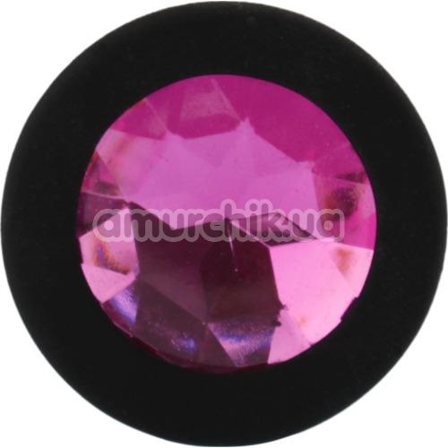 Анальная пробка с розовым кристаллом SWAROVSKI Zcz, черная