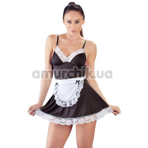 Костюм горничной Cottelli Collection Costumes 2470780 чёрный: платье + фартук - Фото №1
