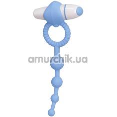 Виброкольцо с анальной стимуляцией Play Candi Blow Pop, голубое