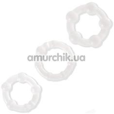 Набор эрекционных колец Power Plus Cock Ring Series Triple Beaded Ring Set, прозрачный - Фото №1