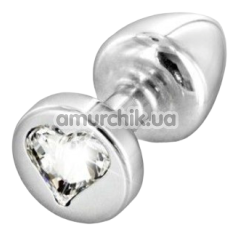 Анальная пробка с прозрачным кристаллом SWAROVSKI Anni R Heart T2, серебряная - Фото №1