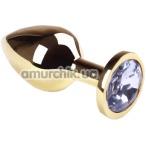 Анальная пробка с прозрачным кристаллом SWAROVSKI Gold Diamond Middle, золотая - Фото №1