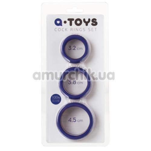 Набор из 3 эрекционных колец A-Toys Cock Rings Set 768015, фиолетовый