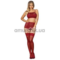 Комплект Obsessive Lividia, бордовый: бюстгальтер + трусики-стринги + пояс для чулок - Фото №1