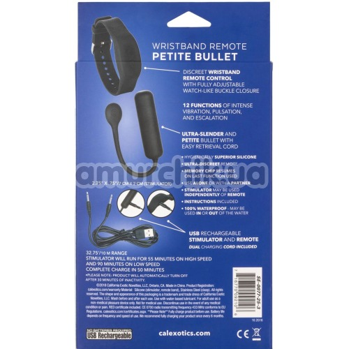 Виброяйцо Wristband Remote Petite Bullet, черное
