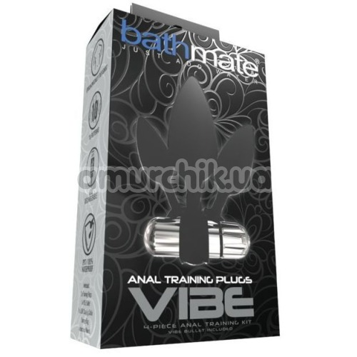 Набор из 3 анальных пробок с вибрацией Bathmate Anal Training Plugs Vibe, черный