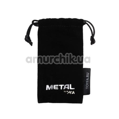 Анальная пробка с черным кристаллом Toyfa Metal 717095-5, серебряная