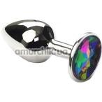 Анальная пробка с радужным кристаллом SWAROVSKI Silver Rainbow Small, серебряная - Фото №1