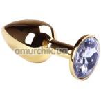 Анальная пробка с сиреневым кристаллом SWAROVSKI Gold Light Purple Small, золотая