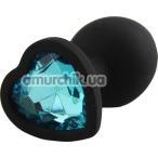 Анальная пробка с голубым кристаллом Silicone Jewelled Butt Plug Heart Small, черная - Фото №1