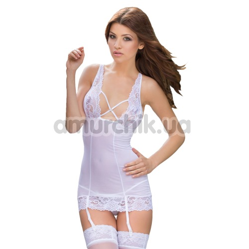Комплект Kate белый: комбинация + трусики-стринги - Фото №1