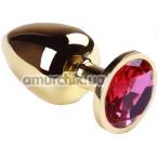 Анальная пробка с розовым кристаллом SWAROVSKI Gold Pink-Rhodolite Big, золотая