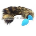 Анальная пробка с полосатым хвостом Пикантные Штучки, 7.5 см голубая